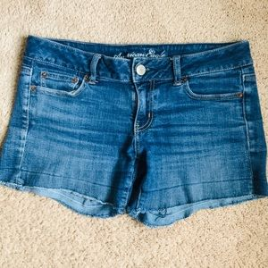 American Eagle Upcycled Blue Denim Shorts 8 EUC